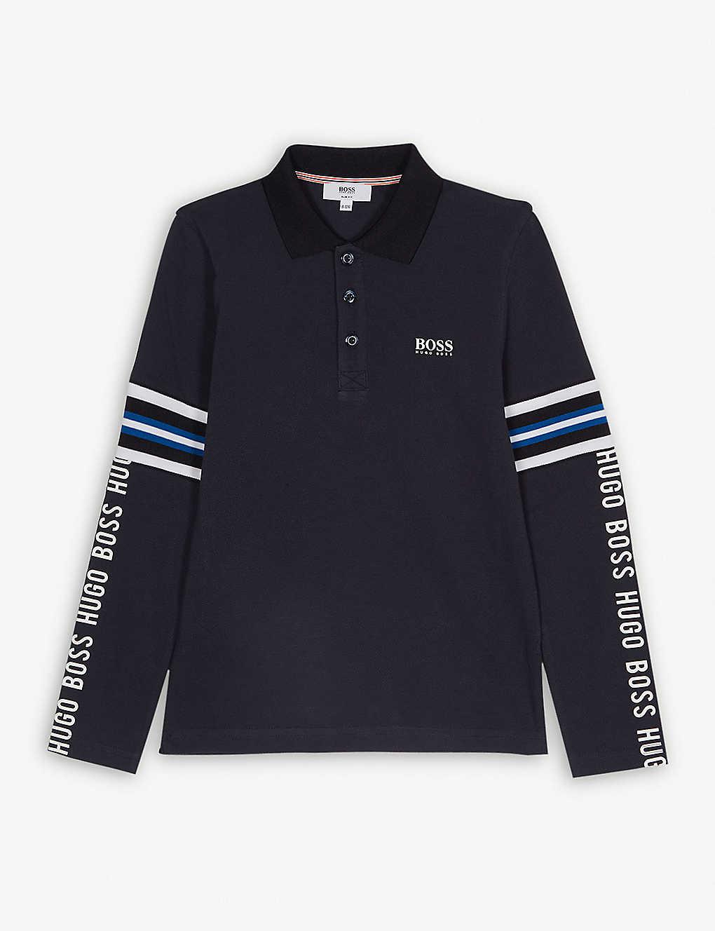 31142e0c2 BOSS - Tape logo cotton polo sweatshirt 4-16 years | Selfridges.com
