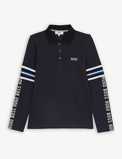 BOSS Tape logo cotton polo sweatshirt 4-16 years e60eda142e