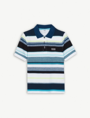 BOSS Cotton striped polo shirt 4-14 years