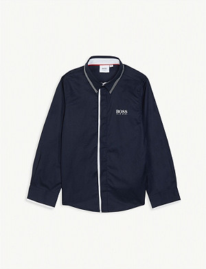 BOSS Contrast cotton shirt 4-16 years