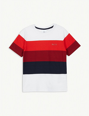 BOSS Striped cotton-blend T-shirt 4-16 years