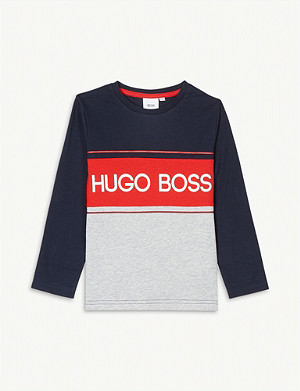 BOSS Logo print long-sleeved cotton T-shirt 4-16 years