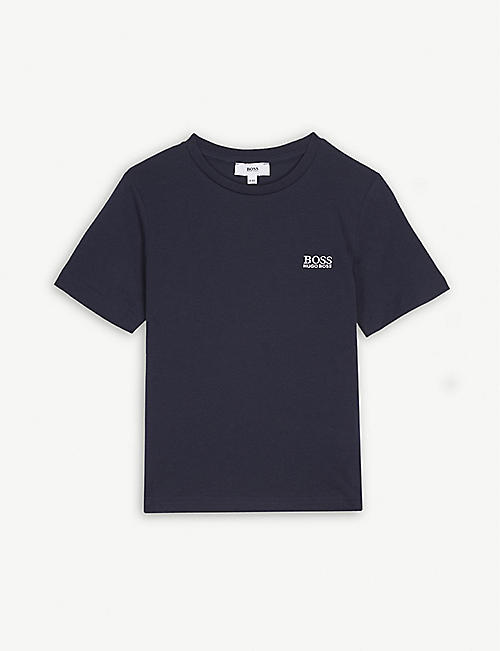 BOSS: Embroidered logo cotton T-shirt 4-16 years
