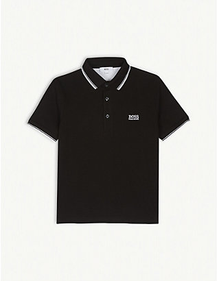 BOSS: Logo cotton polo shirt 4-16 years