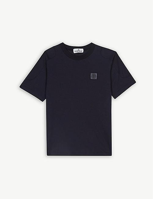 47a6592a STONE ISLAND Shoulder appliqué cotton T-shirt 4-14 years