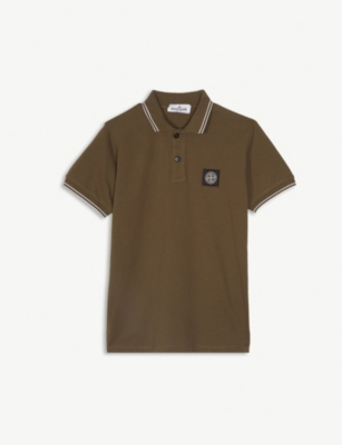 STONE ISLAND Logo striped cotton-blend polo shirt 4-14 years
