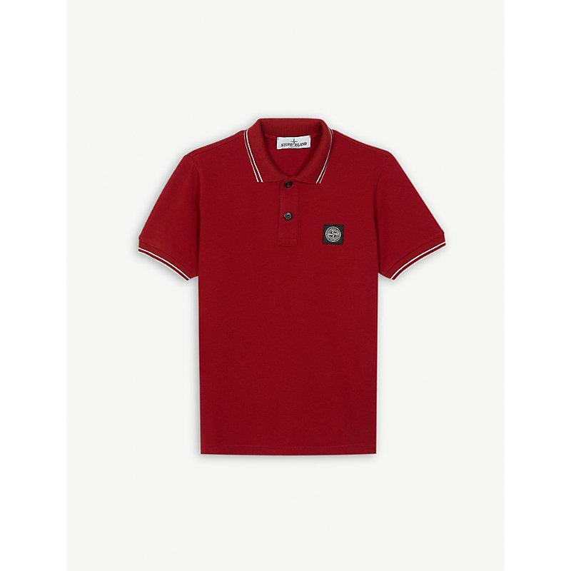 STONE ISLAND | Logo Striped Cotton-Blend Polo Shirt 4-14 Years | Goxip
