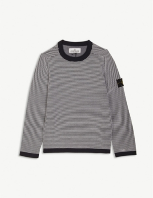 STONE ISLAND Logo striped cotton jumper 4-14 years