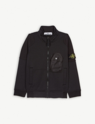 STONE ISLAND Logo cotton-blend zip jacket 4-14 years