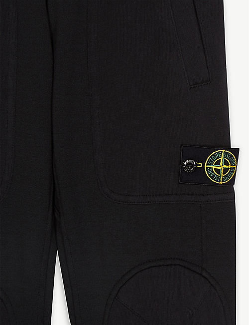 STONE ISLAND Logo patch cotton-blend joggers 4-14 years