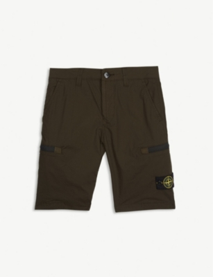 STONE ISLAND Zip pocket cotton-blend shorts 4-14 years