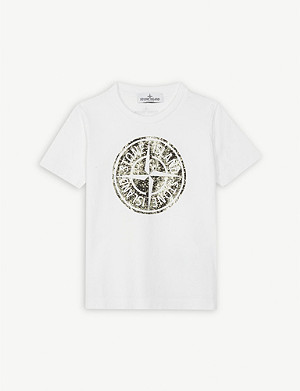 STONE ISLAND Compass logo cotton T-shirt 4-14 years