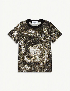 STONE ISLAND Logo patch digital print cotton T-shirt 4-14 years