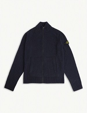 STONE ISLAND Logo patch wool and cashmere-blend zip jacket