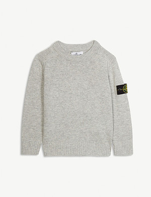 STONE ISLAND Logo patch wool and cashmere-blend jumper 4-14 years