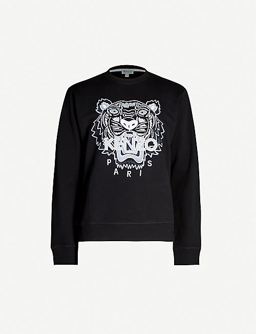 2c3d43c599 KENZO Logo-embroidered cotton-jersey sweatshirt