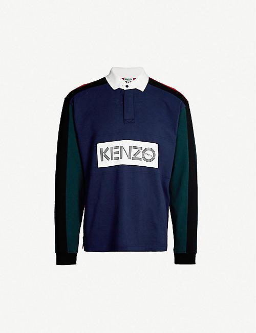 27ca0d53 KENZO - Logo-patch cotton-jersey rugby shirt   Selfridges.com