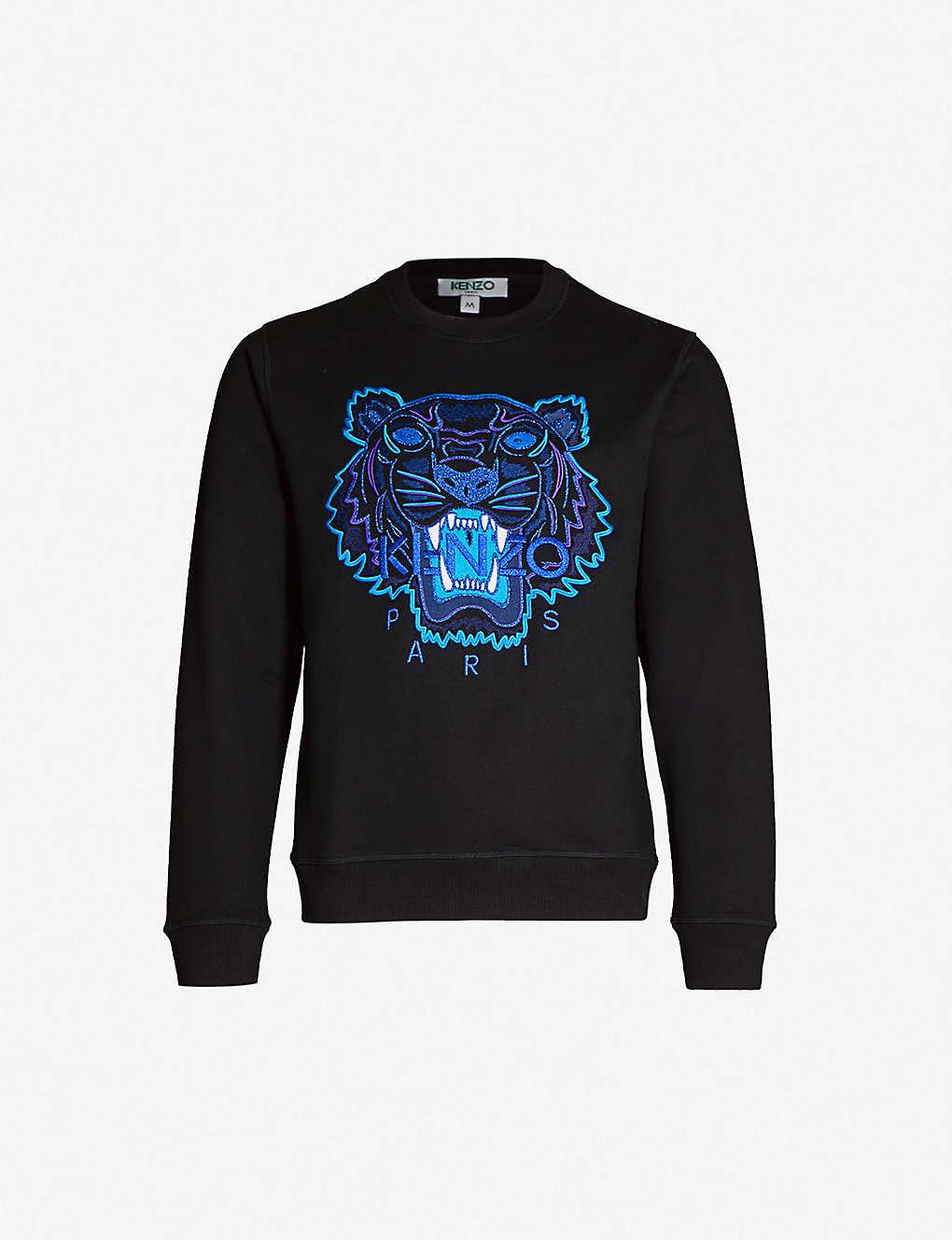 ff8afb30 KENZO - Metallic tiger-embroidered cotton-jersey sweatshirt ...