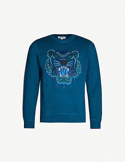 8ff945f69 KENZO Metallic tiger-embroidered cotton-jersey sweatshirt