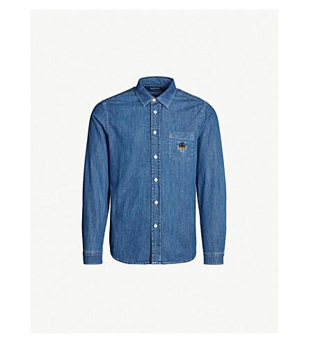 1ee53d66be KENZO Tiger-embroidered regular-fit denim shirt (Navy+blue