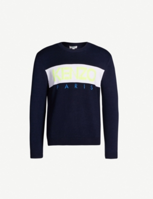 KENZO Logo-embroidered cotton-blend jumper