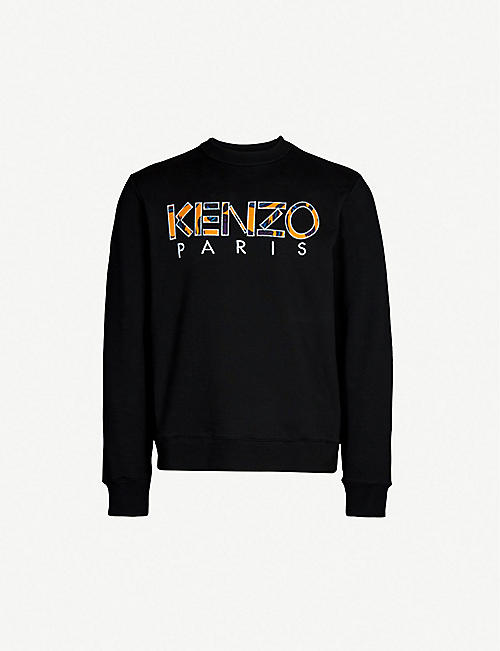fb48e4698789 KENZO Logo-embroidered cotton sweatshirt