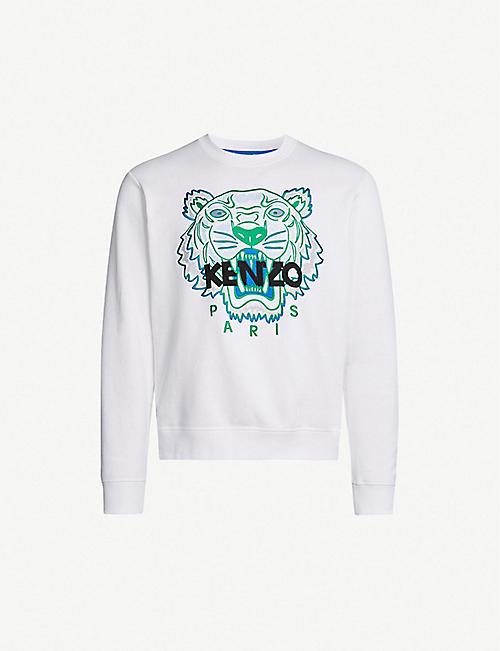 1121eb0b35a4 KENZO Tiger-embroidered cotton-jersey sweatshirt