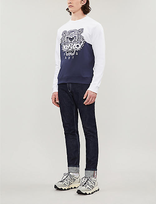 b89f69634 KENZO Tiger-embroidered cotton-jersey sweatshirt
