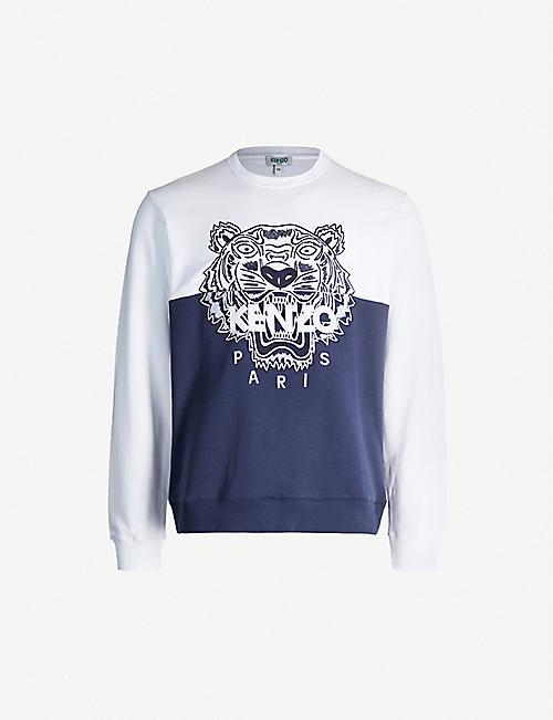 918a1f1b KENZO Tiger-embroidered cotton-jersey sweatshirt