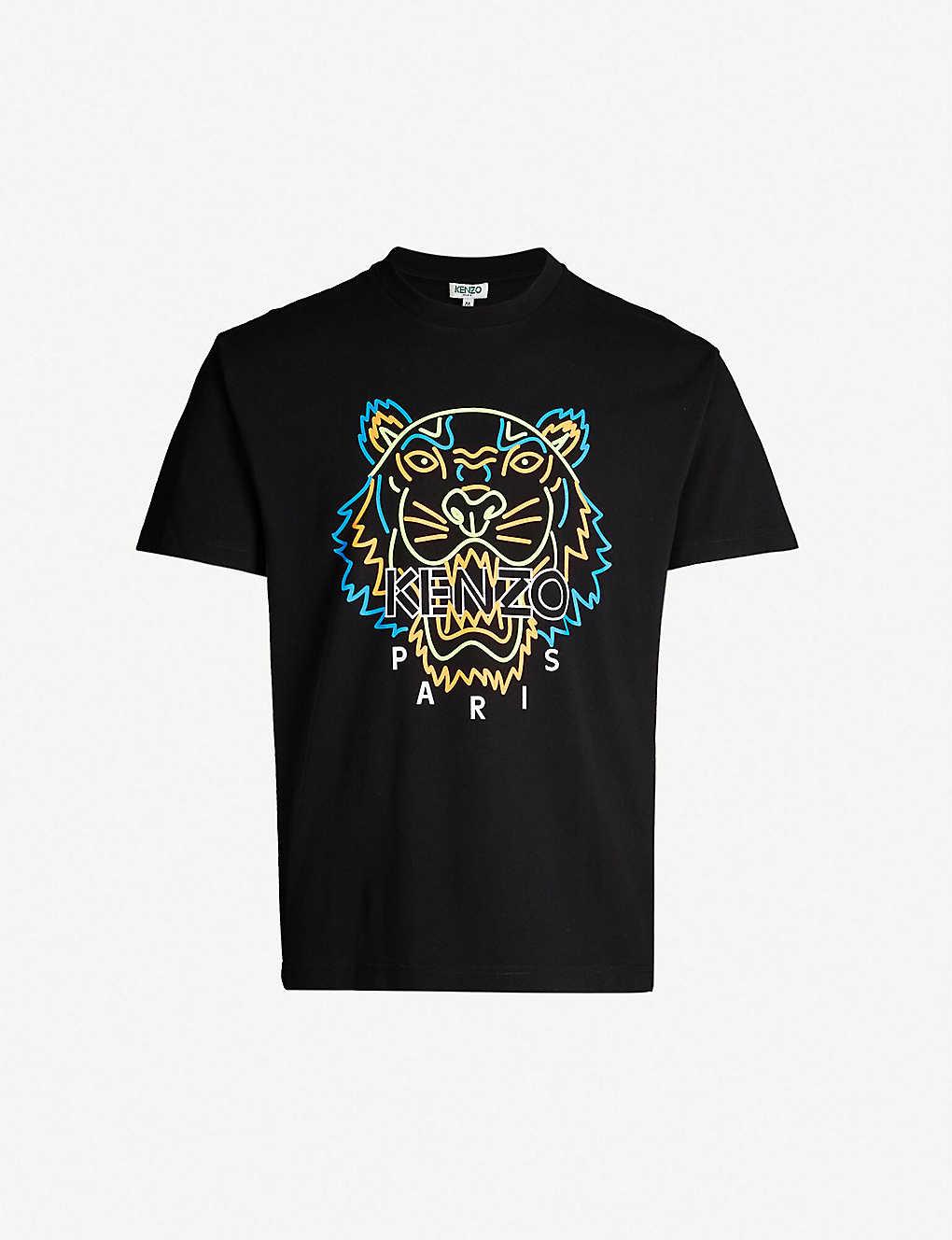 0ecc1ed4 KENZO - Neon tiger-print cotton-jersey T-shirt   Selfridges.com