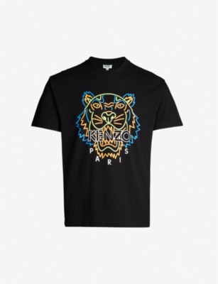 KENZO Neon tiger-print cotton-jersey T-shirt