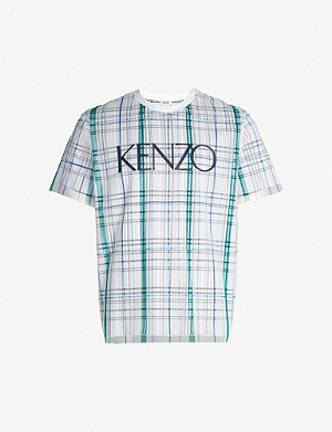 KENZO Grid-print cotton and mesh T-shirt
