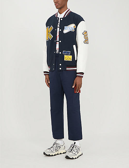 KENZO Appliquéd wool and leather varsity jacket