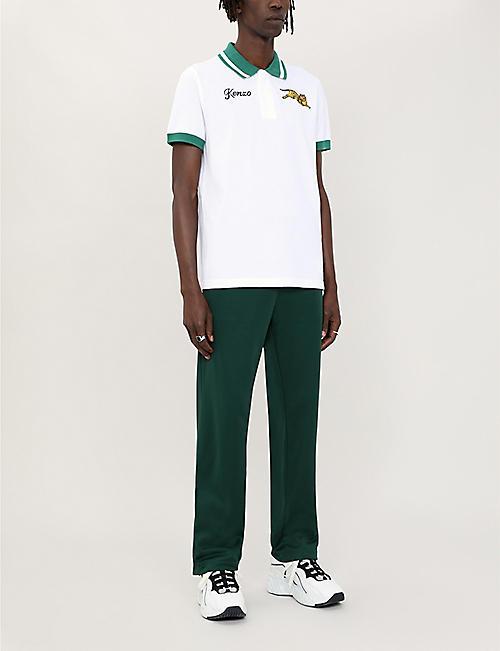 6072df142de KENZO Tiger-embroidered cotton-piqué polo shirt · Quick Shop