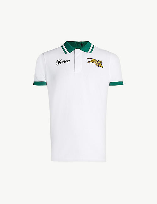 0f2be5a0f KENZO Tiger-embroidered cotton-piqué polo shirt