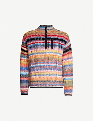 KENZO Striped funnel-neck wool-blend jumper