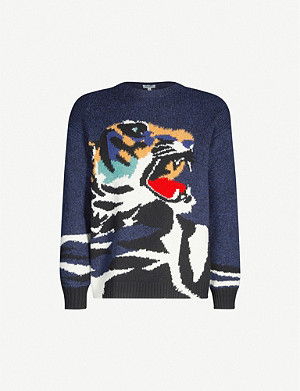 KENZO Tiger-intarsia stretch-knit jumper