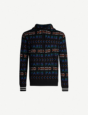 KENZO Multi-colour logo-intarsia wool-blend hoody