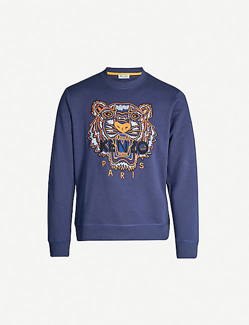 30676d44 KENZO Logo-embroidered cotton-jersey sweatshirt