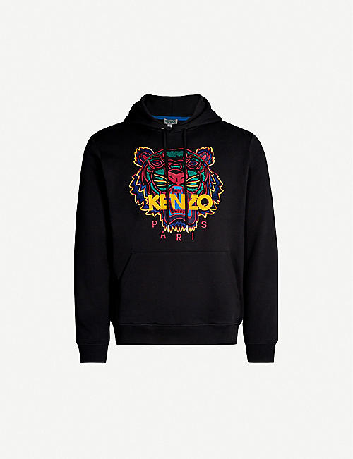 33c0bfee KENZO Tiger-embroidered cotton-jersey hoody