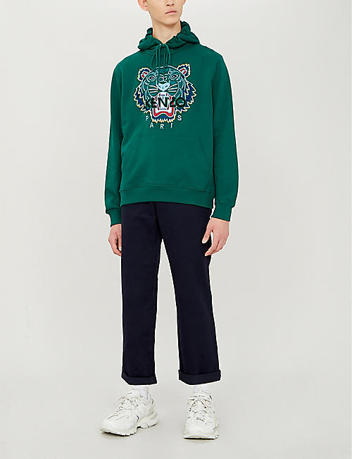 996416bc KENZO Tiger-embroidered cotton-jersey hoody
