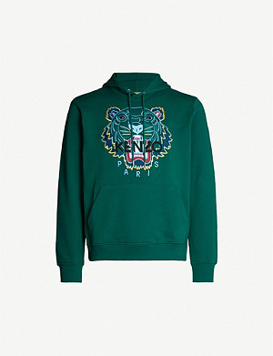 KENZO Tiger-embroidered cotton-jersey hoody