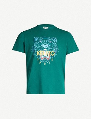 KENZO Tiger-embroidered cotton-jersey T-shirt