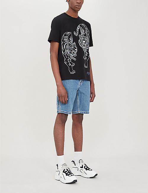 77762a1ec3ce1 KENZO Double tiger-motif cotton-jersey T-shirt · Quick Shop