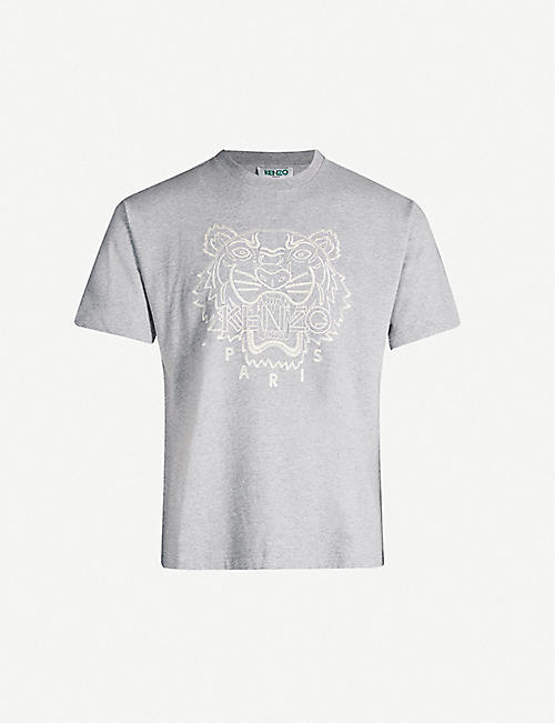 KENZO Tiger-embroidered cotton-blend jersey T-shirt