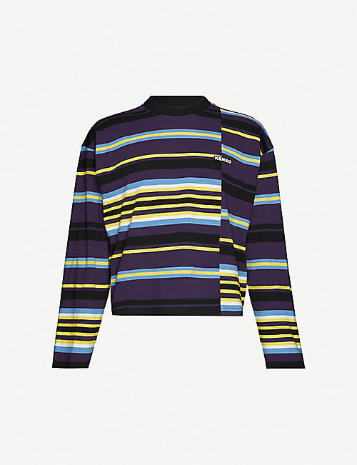 KENZO Stripe panels stretch-knit long-sleeved T-shirt
