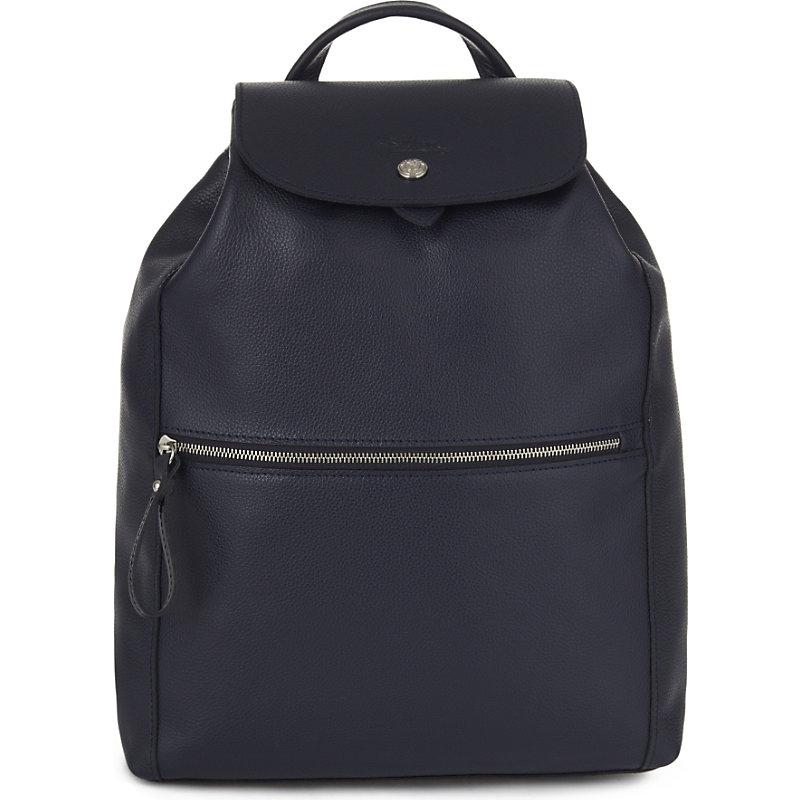 LONGCHAMP | Longchamp Le Foulonné Leather Backpack, Women'S, Navy | Goxip