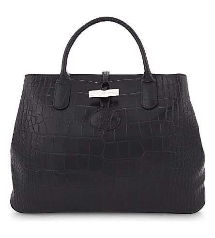 948b251243be LONGCHAMP Roseau medium leather tote (Black