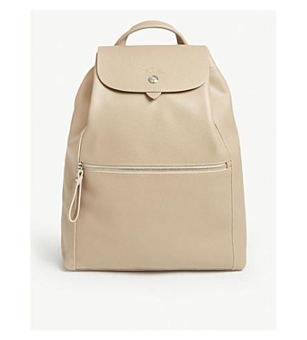 7a53eb5c7068 ... LONGCHAMP Le Foulonné leather backpack (Greige. PreviousNext