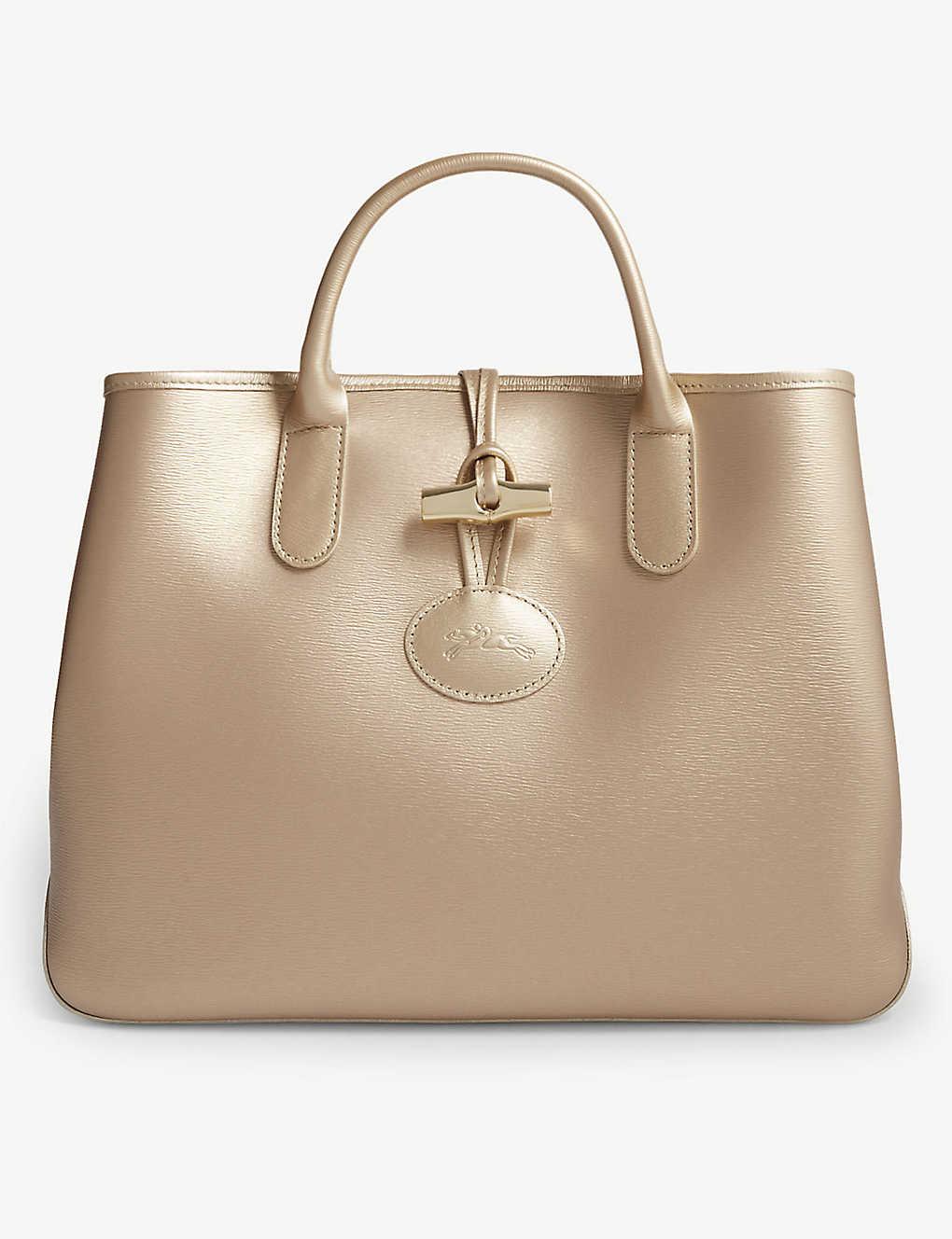 337a22026aa LONGCHAMP - Roseau medium metallic leather tote bag | Selfridges.com